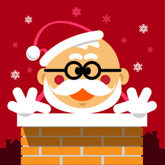 Vector Cartoon Santa Claus in the Chimney on Red Background with