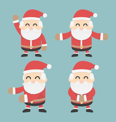 Set of Santa Claus. vector flat design