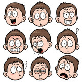 Vector illustration of Boy face set