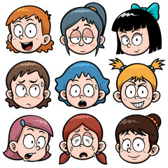 Vector illustration of Cartoon Girls faces