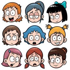 Vector illustration of Cartoon Girls faces