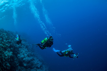 Diver swimming in Banda, Indonesia underwater photo