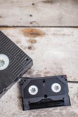 cassette on a wooden