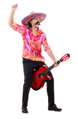 Mexican male brandishing guitar isolated on white