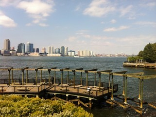 wooden pier on hudson river, Manhattan