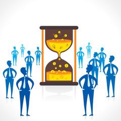 people team around big sand clock design concept