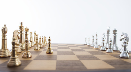 Gold and silver chess set.