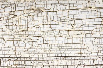 White painted wood with cracked finish