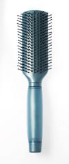 Blue hairbrush on white