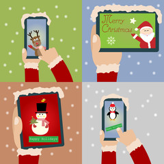 Merry Christmas and Happy New Year with smartphone and tablet