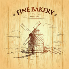 windmill . Bakery. labels, pack for bread, bakery.
