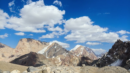 Mountains in clouds. Pamir, Tajikistan. TimeLapse