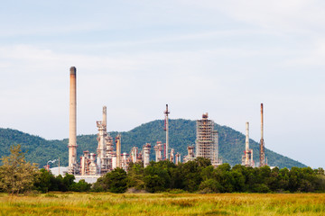 oil refinery with blue sky background