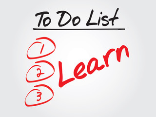 Hand writing Learn in To Do List, vector concept