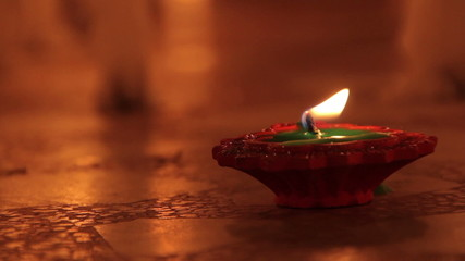 Candles on Indian streets during the festival of Deepavali