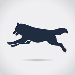 Dog,wolf, jumping, silhouette, symbol, vector