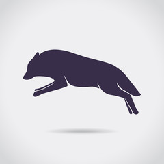 Wolf, dog,  jumping, silhouette, symbol, vector