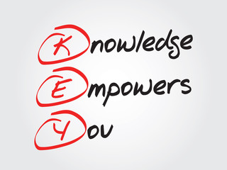 Hand writing Knowledge Empowers You (KEY), vector concept