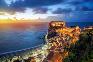 View over Scilla with Castello Ruffo at sunset, Calabria, Italy