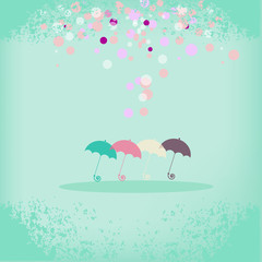 retro background with umbrellas