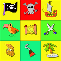 Pirate symbols with skull, ship, treasure and swords