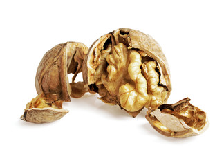 Dried walnuts isolated on white background