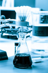 scientific laboratory equipment for chemical experiment