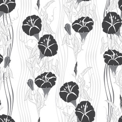 Seamless pattern with  bindweed. Monochrome vector background.