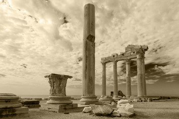 Ancient Greek ruins in the Turkish city of Side