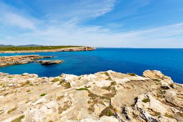rocky coast and the sea on the island of Majorca, Spain