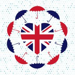Love United Kingdom symbol. Heart flag, umbrellas, rain . Vector