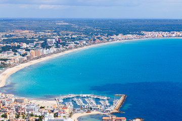 mallorca, can picafort, sant pere  aerial shot city, beach and s
