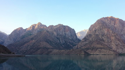 Lake in the mountains at dawn. Time Lapse. Tajikistan, Iskanderk