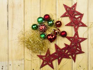 Christmas garland on rustic wood