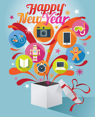 Gift Box with Happy New Year Text and Various Icons