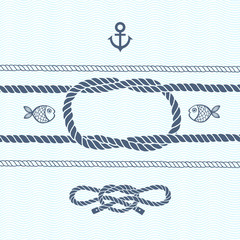 Nautical card with frame, anchor,marine knots, ropes and fish.