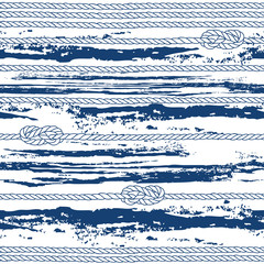 Seamless pattern with marine rope,  knots and abstract waves.