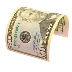 Fifty US dollars isolated.