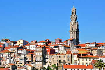 Bell tower and old town of Oporto