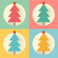 Christmas (New Year) tree flat design icon set