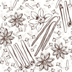 Seamless pattern with  spices: cinnamon, star anise, vanilla, cl