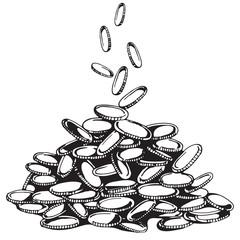Hand handful of money. financial market