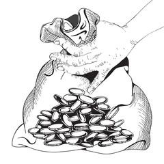 Bag of money. Business theme