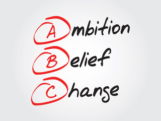 Hand writing Ambition Belief Change (ABC), vector concept