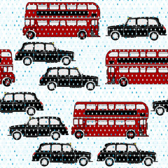 Seamless pattern with double-decker buses and London taxi under