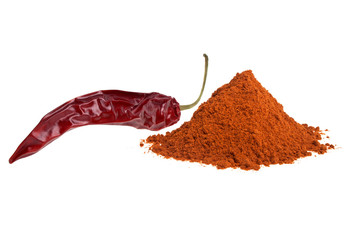 Red pepper with its powder on a white background