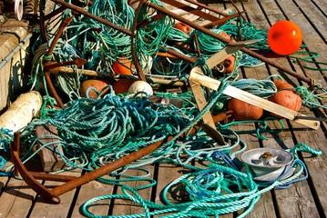 Fishing equipment on the bridge in a harbor.