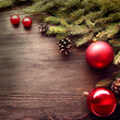 Christmas Tree and decorations on wooden background
