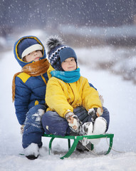 two  happy boys on sled
