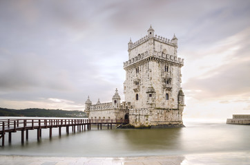 Belem Tower on the Tagus river in the sunset, famous city landma